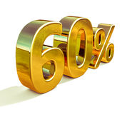 3d金子60百分之六十个折扣标志 库存照片