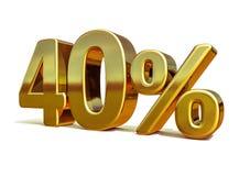 3d金子40百分之四十折扣标志 免版税库存照片