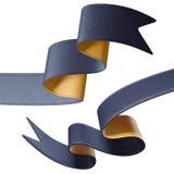 3d金子黑色在白色背景隔绝的丝带末端 免版税库存图片