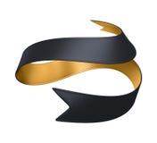 3d金子黑色在白色背景隔绝的丝带标签 库存照片