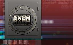 3d金属安全代码锁门 库存照片
