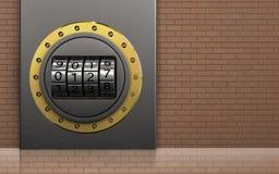 3d金属箱子代码拨号盘 库存图片