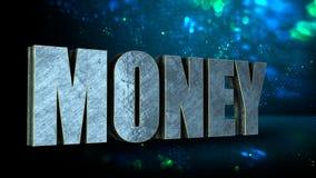 3D金属词金钱在蓝色bohek背景,企业货币概念中 3d翻译 免版税库存照片