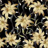 3d金花卉无缝的样式 抽象花卉黑传染媒介ba 免版税库存图片