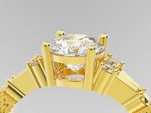 3D金银铜合金单粒宝石订婚diamon的例证关闭 免版税图库摄影