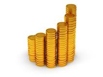 3D金黄硬币日程表作为螺旋形楼梯的 库存图片
