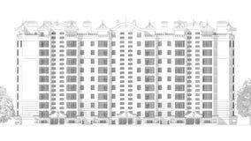 3d铅笔一个现代多层的大厦外部和围场风景的剪影例证设计 免版税库存图片