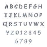3d银/灰色字母表 免版税库存照片