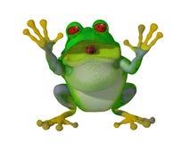 3d问好愉快的动画片的青蛙 免版税库存图片