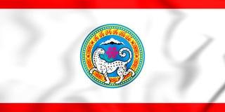 3D阿尔玛蒂,哈萨克斯坦旗子  向量例证