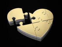 3d难题的金心脏的例证 库存图片