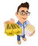3D青少年与电影票和玉米花 库存图片