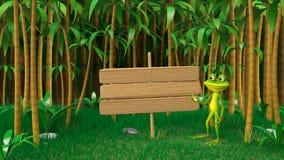 3D青蛙例证在密林 免版税库存图片