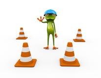 3d青蛙和交通锥体 库存例证