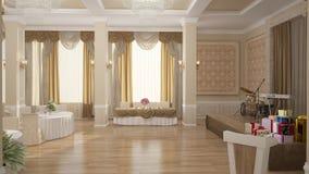 3D面包店室内设计的形象化 免版税库存照片
