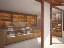 3D面包店室内设计的形象化 库存图片