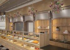3D面包点心店室内设计的形象化 免版税库存图片