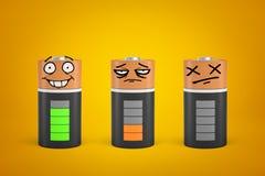 3d面对被释放的三面带笑容翻译和在黄色背景充分地充电了电池 免版税库存图片