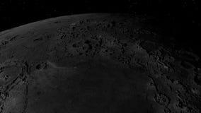 3D飞行的动画在月亮表面的 从太空飞船的看法 关闭 库存例证