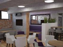 3D餐馆室内设计的形象化 免版税库存图片