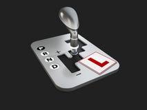 3d驾驶学校的设计观念的例证,被隔绝的黑3d例证 库存照片