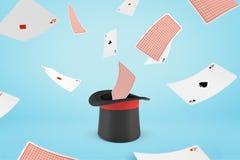 3d魔术师帽子翻译有飞行纸牌的在浅兰的背景 皇族释放例证
