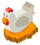 3D鸡的设计在巢 向量例证
