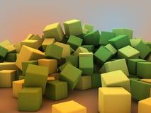 3d黄绿色立方体散装 库存例证