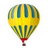 3d黄色和蓝色热空气气球 库存照片