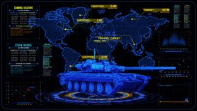 3D黄色蓝色坦克HUD接口行动图表元素 向量例证