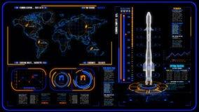 3D黄色蓝色HUD火箭接口行动图表元素 向量例证