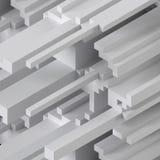 3d übertragen, digitale Illustration, weißer abstrakter Hintergrund, voxel Muster, weiße Planken vektor abbildung