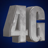 3D ícone do metal 4G no azul Foto de Stock