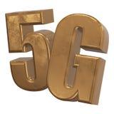 3D ícone do ouro 5G no branco Foto de Stock