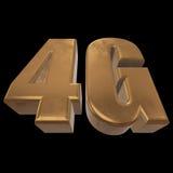3D ícone do ouro 4G no preto Imagens de Stock