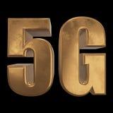3D ícone do ouro 5G no preto Imagens de Stock Royalty Free
