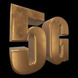 3D ícone do ouro 5G no preto Imagens de Stock