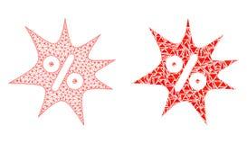 2D ícone poligonal de Mesh Discount Boom e do mosaico ilustração royalty free