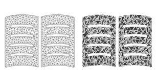 2D ícone poligonal de Mesh Open Book e do mosaico ilustração royalty free