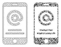 2D ícone poligonal de Mesh Smartphone Address Info e do mosaico ilustração do vetor