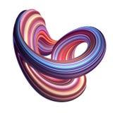3d представляют, абстрактная предпосылка, современная изогнутая форма, петля, деформация, красочные линии, неоновое свето, красны иллюстрация вектора