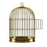 3d öppnar den guld- fågelburen Arkivfoto