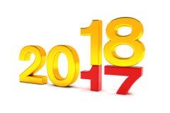 3d übertragen - Änderungskonzept des neuen Jahres 2018 - Gold Lizenzfreie Stockbilder