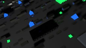 3D übertragen abstrakten Hintergrund Technologiegeometrieformen, das auf und ab geht Stockfoto