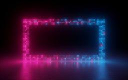 3d übertragen, abstrakter Hintergrund, Schirmpixel, glühende Punkte, Neonlicht, virtuelle Realität, ultraviolettes Spektrum, rosa stock abbildung