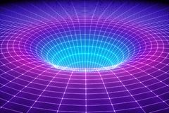 3d übertragen, abstrakter kosmischer Hintergrund, Trichter, Raum, Masche, Gitter, ultraviolettes Spektrum, Schwerkraft, Angelegen stock abbildung