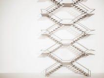 3d übertragen, Außentreppe auf weißer Wand Stockfotografie