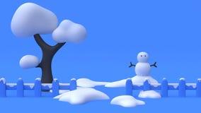 3d übertragen blauen Hintergrund der blauen Szene des Baumschneemannschneezaunzusammenfassungskarikaturartwinternaturkonzeptes lizenzfreie abbildung