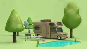 3d übertragen braunes Hauptauto in den grünen Parks haben Reflexionskarikaturart der Natur vieler Bäume und des blauen Wassers stock abbildung