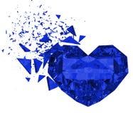 3d übertragen brokken blaues Herz Stockfotos